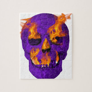 燃えるようなスカルの紫色 ジグソーパズル