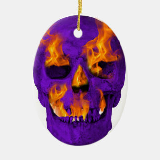 燃えるようなスカルの紫色 セラミックオーナメント