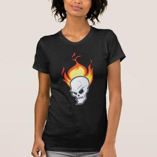 燃えるようなスカルの黒 Tシャツ