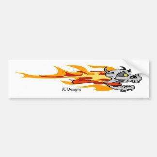 燃えるようなスカル、JCのデザイン バンパーステッカー