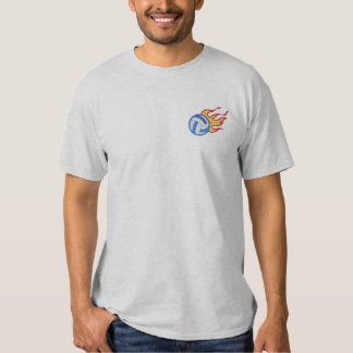 燃えるようなバレーボール 刺繍入りTシャツ