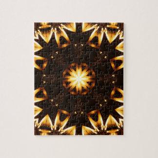 燃えるようなヒマワリの幾何学的な万華鏡のように千変万化するパターン2 ジグソーパズル