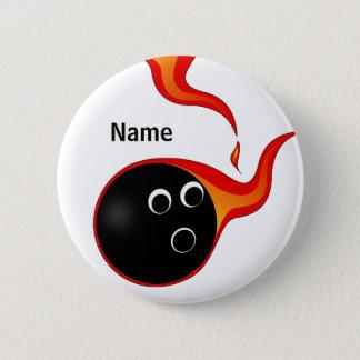 燃えるようなボーリング・ボールのバッジ 缶バッジ