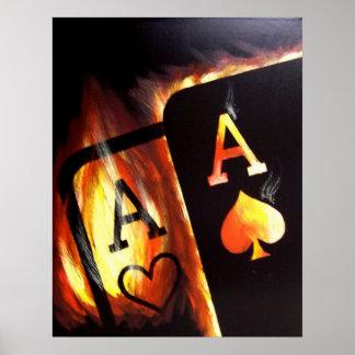 燃えるようなポケットはTeoアルフォンソによってトランプのポーカーの絵画を楽勝で突破します ポスター