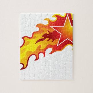 燃えるような射撃、発砲の火の星アイコン ジグソーパズル