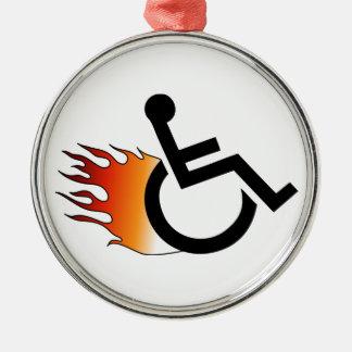 燃えるような車椅子 メタルオーナメント