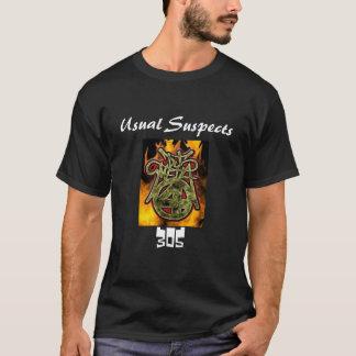 燃えるロゴ(通常の容疑者) 305 Tシャツ