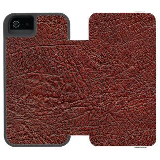 燃える赤茶色ウシの血の革微粒子 iPhone SE/5/5sウォレットケース