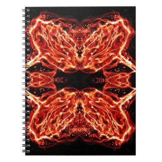 燃え立つ非常に熱い万華鏡のように千変万化するパターンは上がりました ノートブック