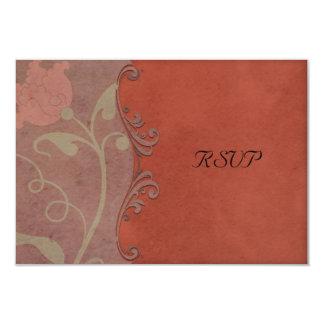燃やされたシエナ土花の自然な結婚RSVP カード