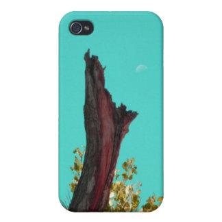 燃やされた木Rising_singles_turquoise上の月 iPhone 4/4Sケース