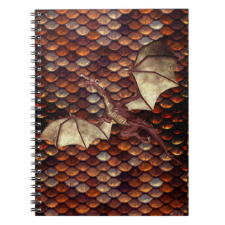 燃焼させた青銅色のドラゴンのスケールの螺線形ノート ノートブック