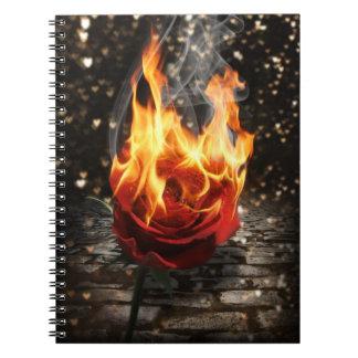 、燃焼は火に上がりました上がりました ノートブック