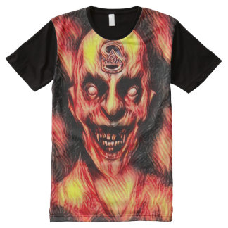 燃焼Illuminatiの吸血鬼の暗い恐怖芸術 オールオーバープリントT シャツ