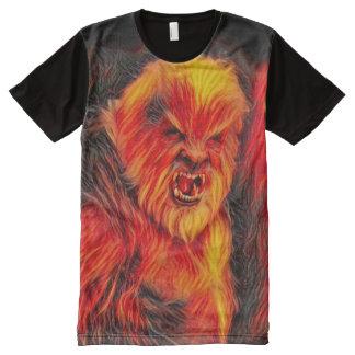 燃焼Wolfmanの異なった暗い恐怖ファンタジーの芸術 オールオーバープリントT シャツ