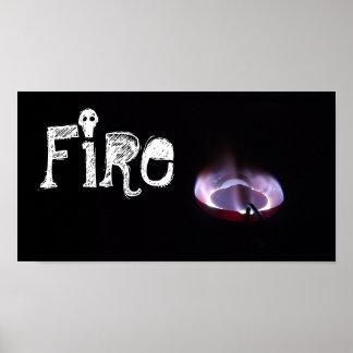 """燈油のストーブの炎によって撃たれる""""火"""" ポスター"""