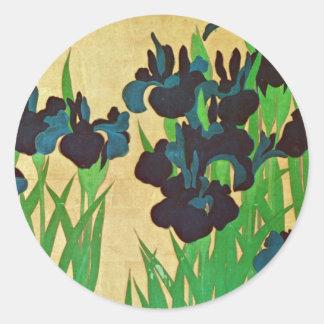 燕子花図の(の部分の)、光琳は(詳細)、Kōrinの日本芸術絞ります ラウンドシール