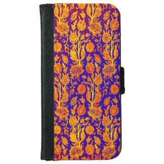 燦びやかな花の赤く青いパターンiPhoneの財布 iPhone 6/6s ウォレットケース