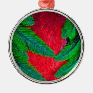 燦びやかなQuetzalの羽のデザイン メタルオーナメント
