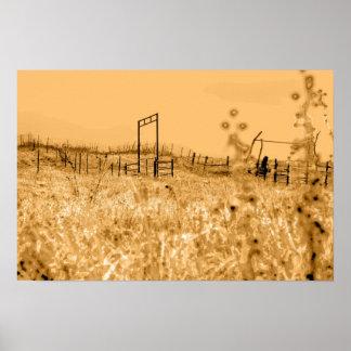 燧石の丘の草原場面 ポスター