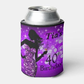 爆弾のグリッターのきらきら光るな輝きの誕生日|の紫色 缶クーラー