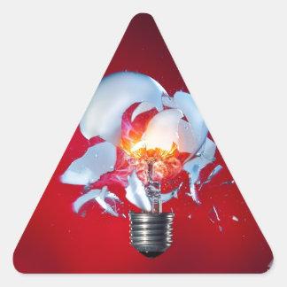 爆発の電球 三角形シール