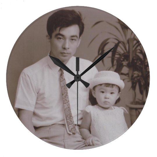 父と ラージ壁時計