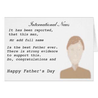 父のフルネームおよび写真の前部ニュースレポートを加えて下さい カード