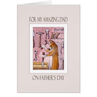 父の日カード、パパ、彼の研修会のコーギー犬 カード
