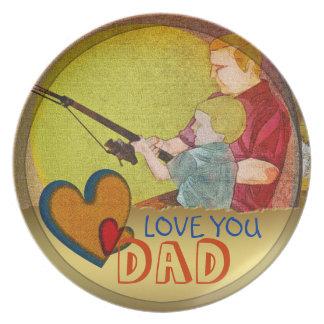 父の日愛パパのハートのテンプレートのプレート プレート
