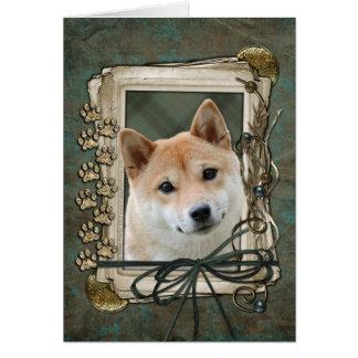 父の日-石造りの足-柴犬 カード