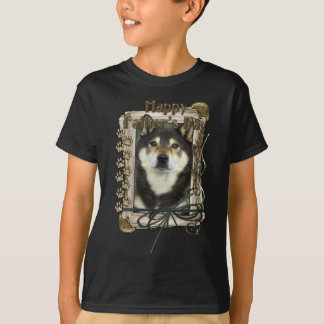 父の日-石造りの足-柴犬- Yasha Tシャツ