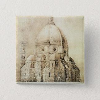 「片からの東からのフィレンツェのカテドラル、 5.1CM 正方形バッジ