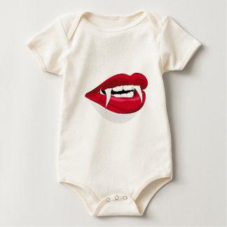 牙が付いている大きい吸血鬼の唇 ベビーボディスーツ