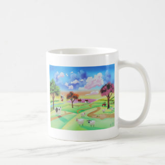 牛およびヒツジゴードンブルースのカラフルな絵画 コーヒーマグカップ