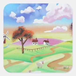 牛およびヒツジゴードンブルースのカラフルな絵画 スクエアシール