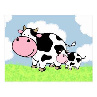 牛およびベビー ポストカード