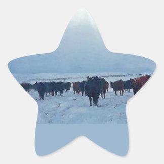 牛および牛のキリスト教の西部の芸術 星シール