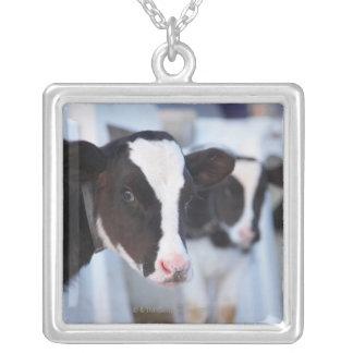 牛のポートレート シルバープレートネックレス