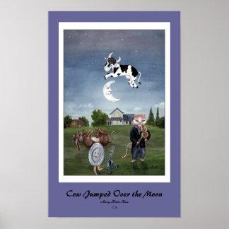 牛はカスタマイズ月のプリントに-跳ばれた ポスター