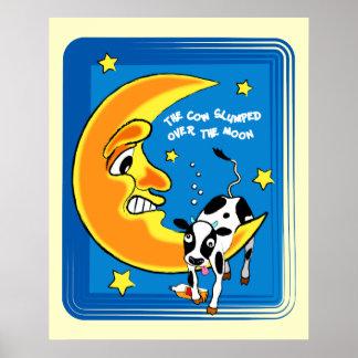 牛は月に暴落しました ポスター