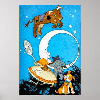 牛は月に跳ばれた(23のサイズで) ポスター