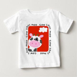 牛はMooのTシャツおよびギフトを言います ベビーTシャツ
