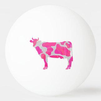 牛ショッキングピンクおよび白いシルエット 卓球ボール
