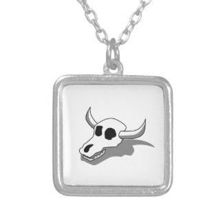 牛スカルの骨 シルバープレートネックレス
