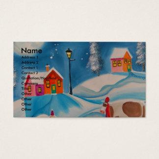 牛ヒツジの冬の雪場面民芸 名刺