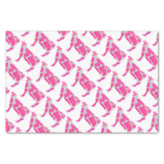 牛ピンクおよび白いシルエット 薄葉紙