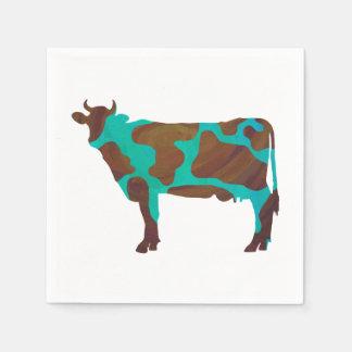 牛ブラウンおよびティール(緑がかった色)のシルエット スタンダードカクテルナプキン