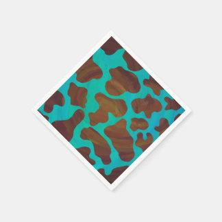 牛ブラウンおよびティール(緑がかった色)のプリント スタンダードカクテルナプキン