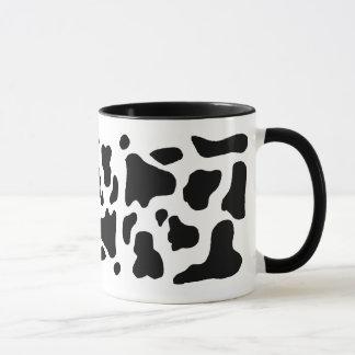 牛プリントの白黒染みがついたパターン マグカップ